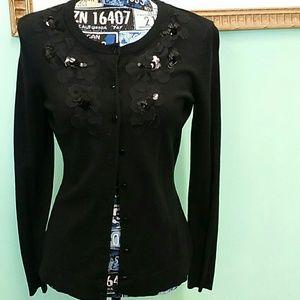 EUC Charter Club small black long sleeve cardigan